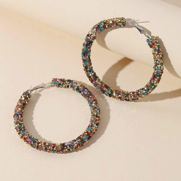 Colourful Rhinestone Hoop Earrings